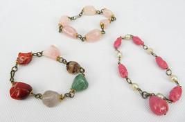 "Lot of 3 Vintage Bracelets Costume Jewelry Retro Stone 8"" Gemstones - $45.00"