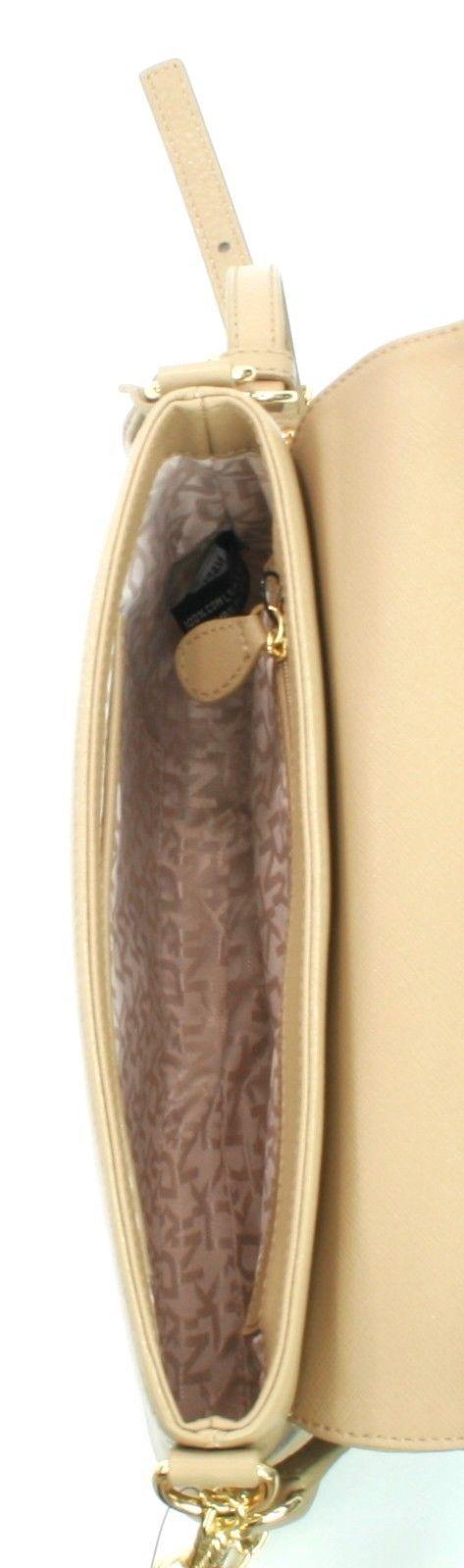 DKNY Donna Karan Tan Beige Pebbled Leather Shoulder Bag Small Handbag
