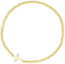 MetJakt Sleek Elastic Beads 18K Gold Plated Classic Stretch Bracelet With - $38.05