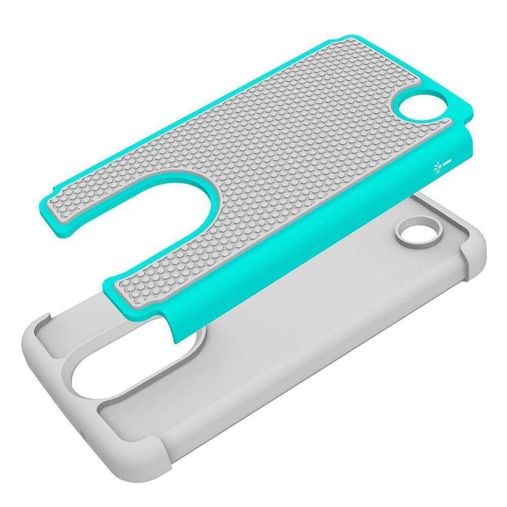Drop Protection Hybrid Case Cover for LG Fortune / V1 K4 2017 - Cyan&Gray