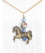 Elegant Judy Strobel Prancing Horse with Cut Glass & Sodalite Pendant Ne... - $17.77