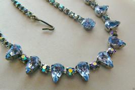 """Gorgeous Blue crystal Rhinestones silver tone Necklace 15.75""""L Bridal Wedding - $41.18"""