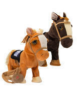 Walking Horse Pony Musical Singing Toy Plush Doll Saddle Riding Electronic - £21.08 GBP