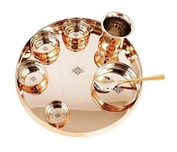 An item in the Pottery & Glass category: IndianArtVilla Steel Copper Dinner Thali Set, Serveware & Dinnerware, 8 Pieces