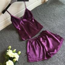 2pcs Purple Satin Sleepwear Sexy Lingerie V-neck Gecelik Lacy Backless P... - $24.70