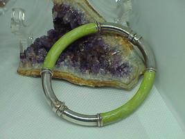 Vtg Milor Italy 925 sterling & lime green enamel 7mm tube hinged bangle ... - $44.54