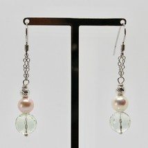 Silver Earrings 925 Rhodium Hanging with Prasiolite Faceted and Pearls image 2
