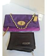 Coach Evening Bag Amanda Satin Purple Gold Foldover Flap Clutch F12926  ... - $98.95