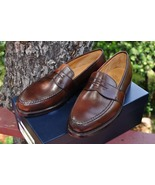Christmas Dress Wear Customize Dark Brown Moccasin Leather Shoes - $158.99
