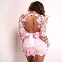 Floral Lace Overlay Backless Women Bodycon Dress - $37.48