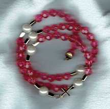 Dark Pink Faceted Coil Wrap Around 5-decade Rosary Bracelet - $15.00