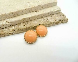 Vintage Signed Hong Kong Peach Prong Set Dome Clip On Earrings QQ22 - $21.99