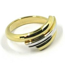 18K YELLOW WHITE GOLD BAND RING, TRIPLE TUBE, ROUNDED, BICOLOR image 3