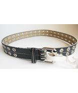 Ladies Misses Black Silver Hardware Belt Shot Bead Double Prong Sz Small - $17.95