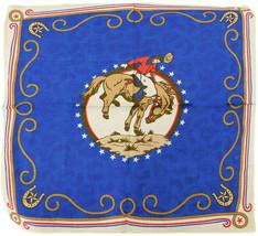 """Horse Riding Cowboy Rope Border Horseshoes Blue 22""""x22"""" 100% Cotton Band... - $6.88"""