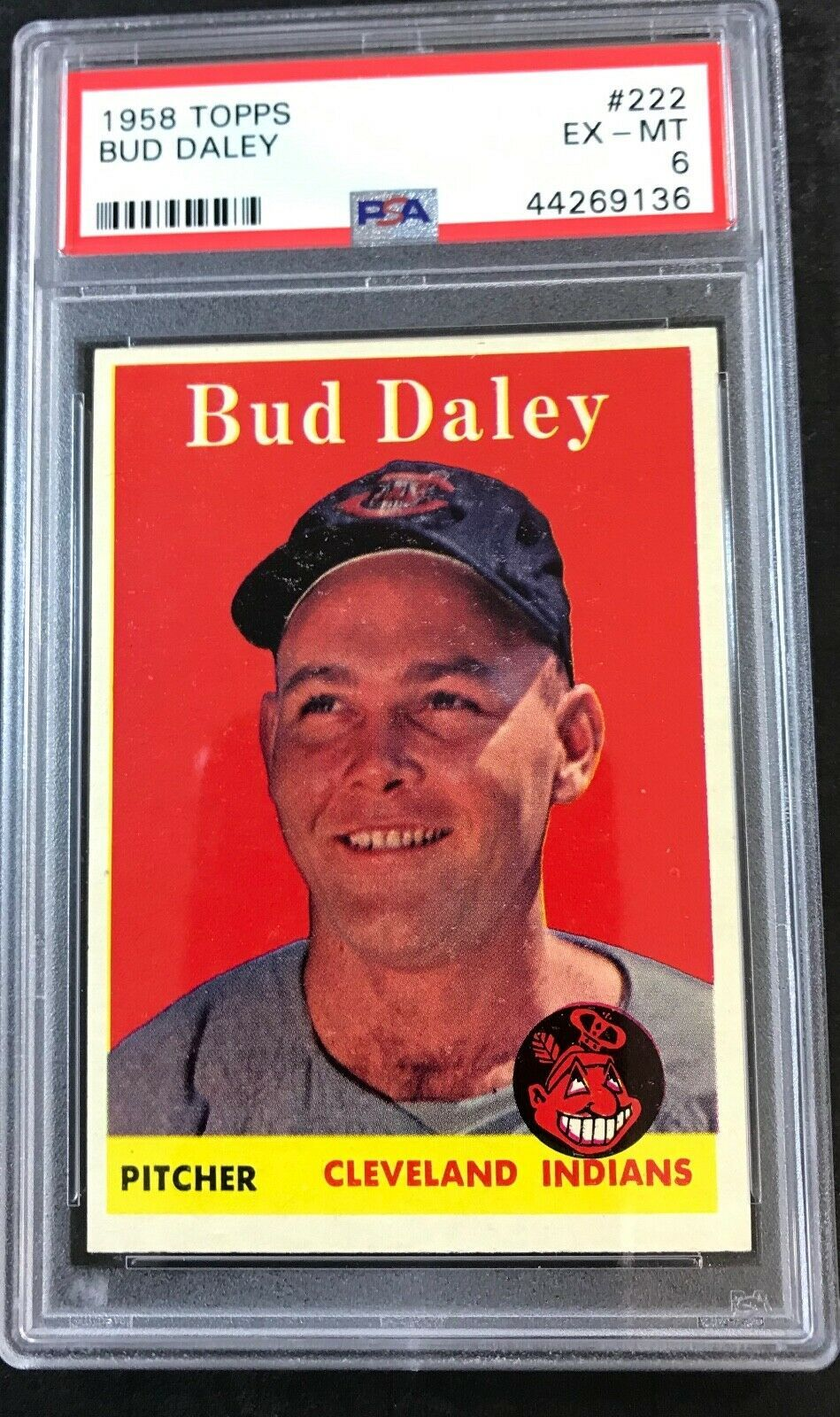 1958 TOPPS #222 BUD DALEY PSA 6 EX-MT Cleveland Indians