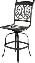 Outdoor armless bar stool cast aluminum patio furniture sunbrella seat cushions image 2