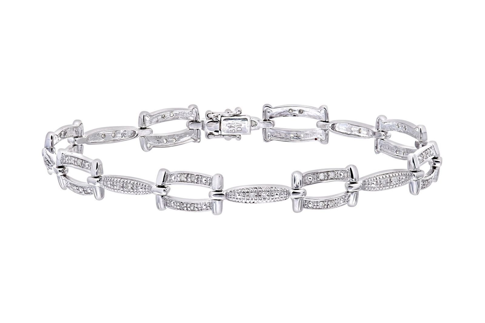 Naava Women's 9 ct White Gold Diamond Twist Link Bracelet WRvkokWf4b