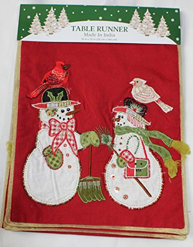 Nantucket Home Mr and Mrs Snowman Embroidered Embellished Table Runner, 13-Inch