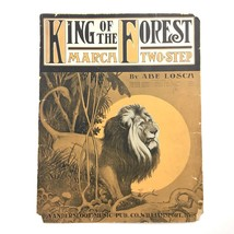 1909 King of the Forest March Two Step Sheet Music Abe Losca Lion Safari... - $19.75