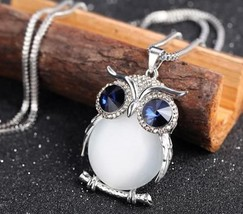 Charmant Feminine Necklace Owl Pendant Rhinestone Chain Long Necklace 76cm - $15.00