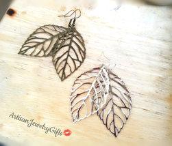 Hypo-Allergenic Silver Skeleton Leaf Earrings Silver Leaf Earrings Silve... - $30.00