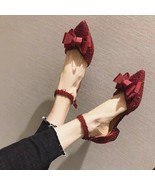 Pointed Toe Bowtie Back Ankle Buckle Strap Wedding Evening Party Dress S... - £39.12 GBP