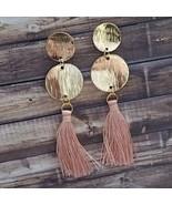 Pink & Gold Tassel Earrings Boho Festival Bohemian Dangle Drop Pink Jewelry - $14.99