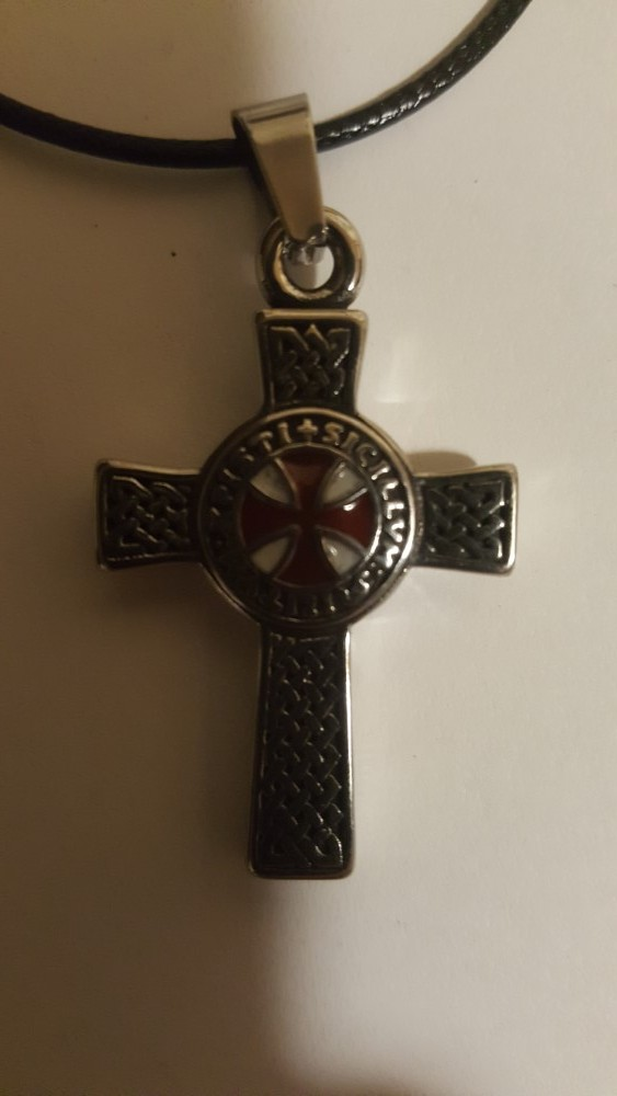 Knights Templar Double Side Cross on Black Necklace
