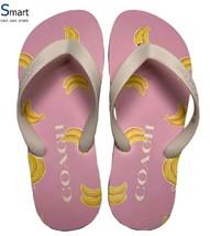 NEW SIZE 6 WOMEN Coach Logo Flip Flops Sandals Slippers BANANAS Print Beach - $39.59