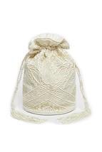 Beatrice Vintage Inspired Hand Embellished Bucket Bag in Cream - $46.30