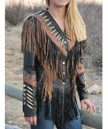Vipzi Western Women's Lambskin Leather Fringe Jacket bones stud Cognac t... - $175.00+