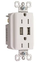 Pass and Seymour TM826USBWCC6 USB Charger Duplex Tamper-Resistant Recept... - $18.66