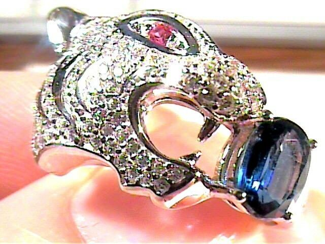 Natural blue sapphire RUBY RING 925 sterling silver 7 TIGER elegant N1/2 RARE