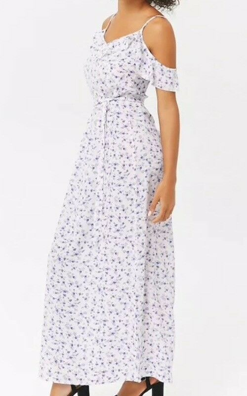 Forever 21 Flounce Floral Crepe Maxi Long Full Length Dress White Blue Flowers S