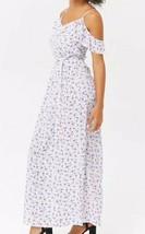 Forever 21 Flounce Floral Crepe Maxi Long Full Length Dress White Blue F... - $19.79