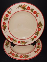 2 Ballard Designs Country Flower Red Rimmed Dinner Plates Hand Painted S... - $41.58