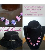 Purple Sediment Jasper and Black Quartz Necklace - New - $24.75