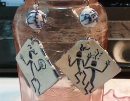 """Vintage Jewelry: 3"""" (Includeing Hook) Primitive Ceramic Pierced Earrings... - $8.90"""