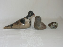 Lot of 3 Rustic Folk Art Clay Pottery Ceramic Vtg Bird Figurines Figures Owl image 2