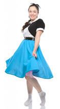 1950s Retro Circle Skirt in Pink Black Red Royal Blue or Turquoise by He... - $29.99
