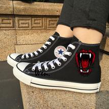 Original Black Canvas Shoes Wild Beast Mouth Bite Design Converse Chuck Sneakers - $119.00