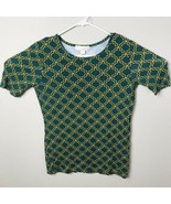 MK Michael Kors mid Sleeve Shirt Top Blouse Green with yellow chain prin... - $18.39
