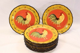 "Ack Casa Vero Rooster Dinner Plates Hand Painted 10"" Lot of 8 - $64.67"