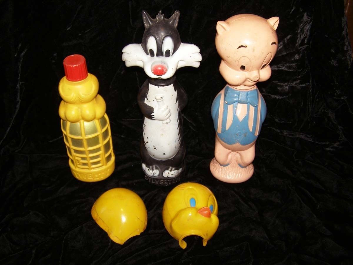 Looney Tunes Soaky Bubble Bath Containers Colgate Imco Tweety Sylvester Porky Pi