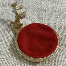 Vintage Non-Functioning Red Velvet Poodle Dog Pin Cushion Jewelry Ring Rest - $15.80