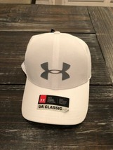 UNDER ARMOUR Driver 2.0 Tiger Woods Golf Cap Hat White Gray Logos 129183... - $21.78