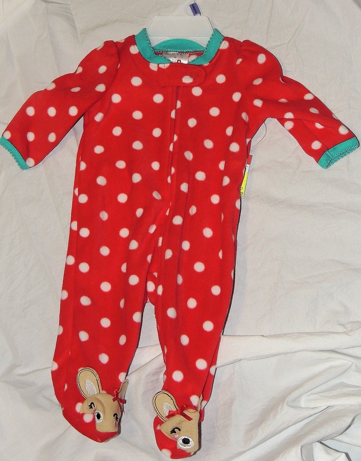 895e76ced1 S l1600. S l1600. Previous. New Baby Girl First Christmas Pajamas w Feet  Newborn Reindeer Rudolph Clarice