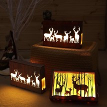 Luminous LED Christmas Ornaments Battery Operated Wood Material Home Dec... - €17,56 EUR+