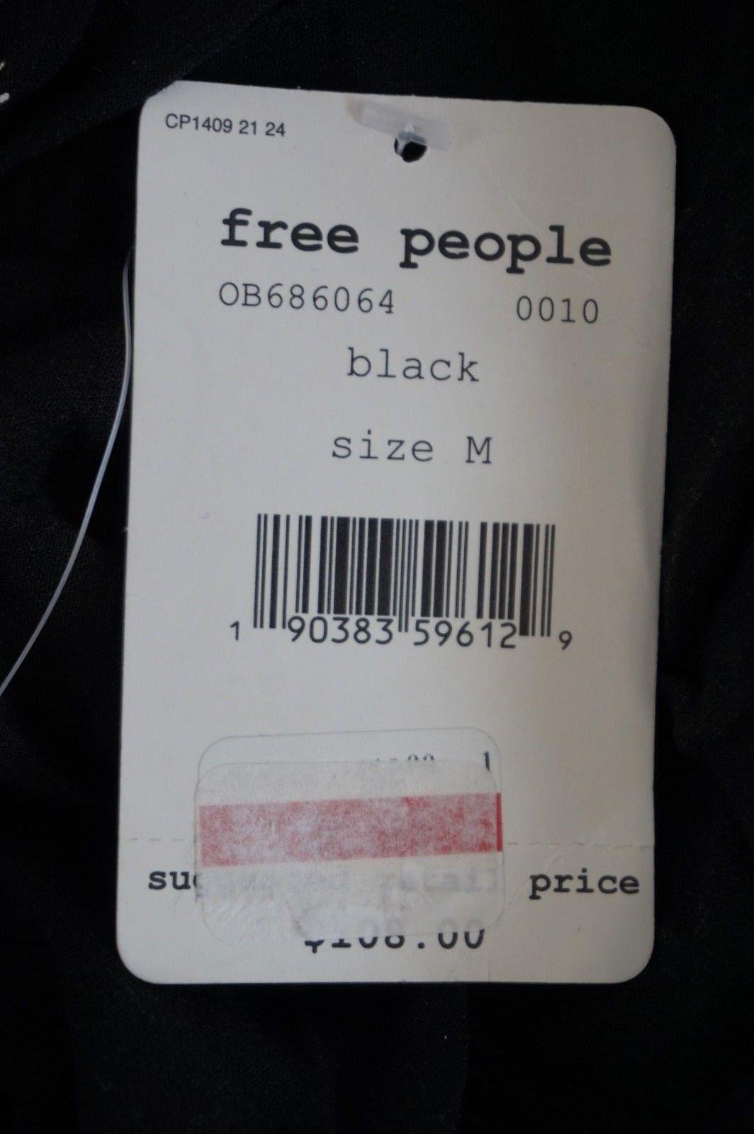 NWT FREE PEOPLE Women's Blac Mock Neck Long Sleeve Open Back Gemma Tunic Dress M